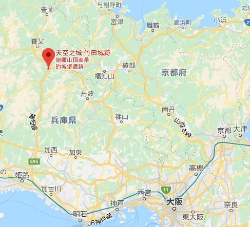 竹田城跡位置